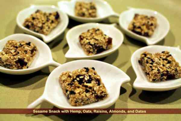 1-Sesame Snack with Hemp, Oats, Raisins, Almonds, and Dates