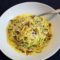 Pasta and Zoodles with Bacon and Saffron Cream Sauce